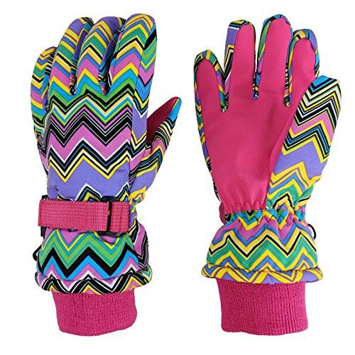 N'Ice Caps Girls Ombre Shaded Waterproof Thinsulate Winter Snow Ski Gloves (Fuchsia Chevron, 7-8yrs)