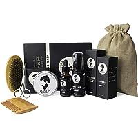 Beard Kit For Men Gift Beard Oil Growth Shampoo Natural Beard Balm Sandalwood Grooming Beard Care Set Comb Wood And Brush 8 in 1