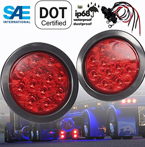 "AutoSmart 4"" Round LED Stop Turn Tail Light Includes Pair Light Red Lens, Grommet, Plug For Truck Trailer"