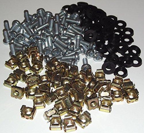 PCSL® Lot de 50 écrous cage, vis et rondelles 16 mm pour rack 19'' PCSL_CabinetNutsx50