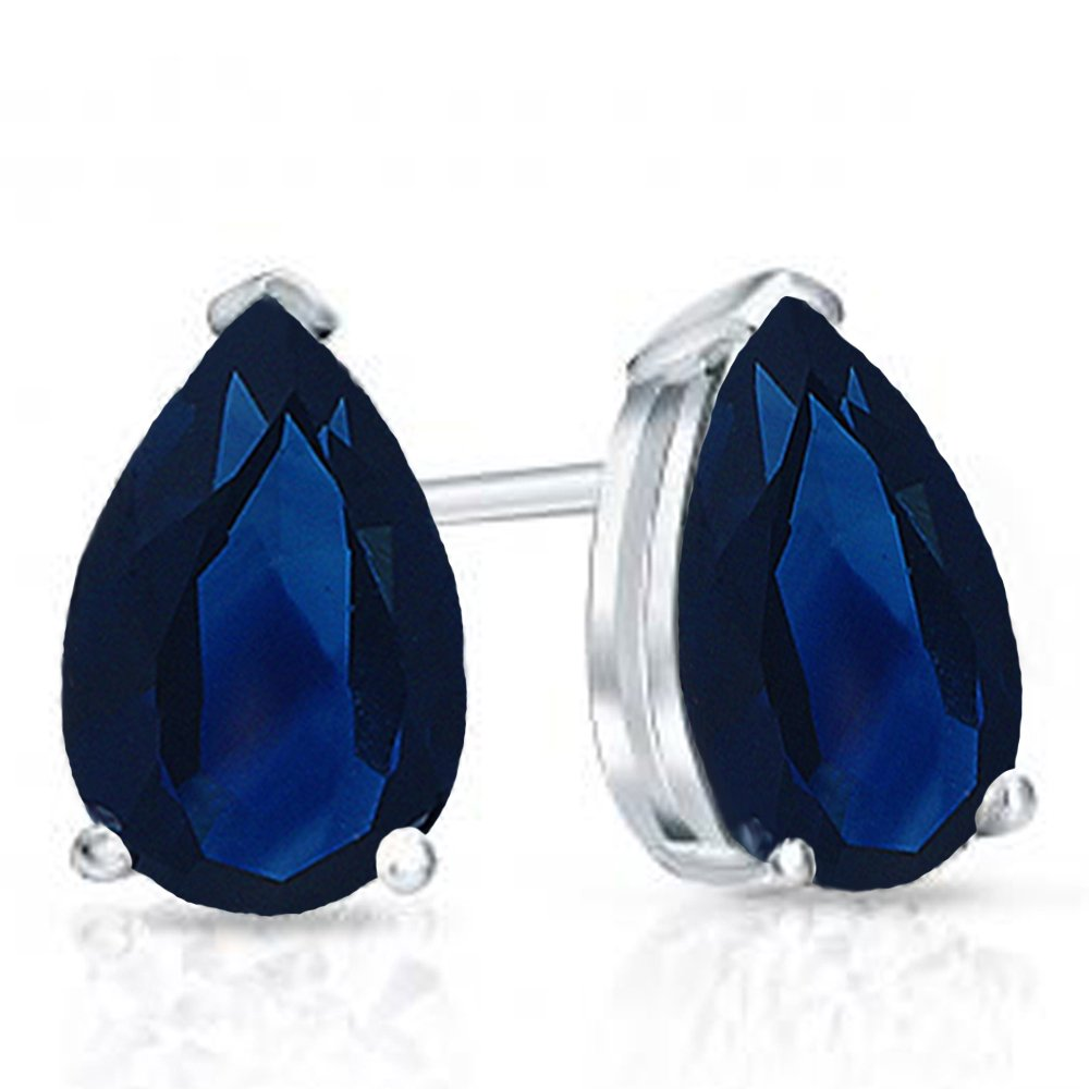 Sterling Silver 6x4mm Each Pear Cut Blue Sapphire Ladies Solitaire Stud Earrings