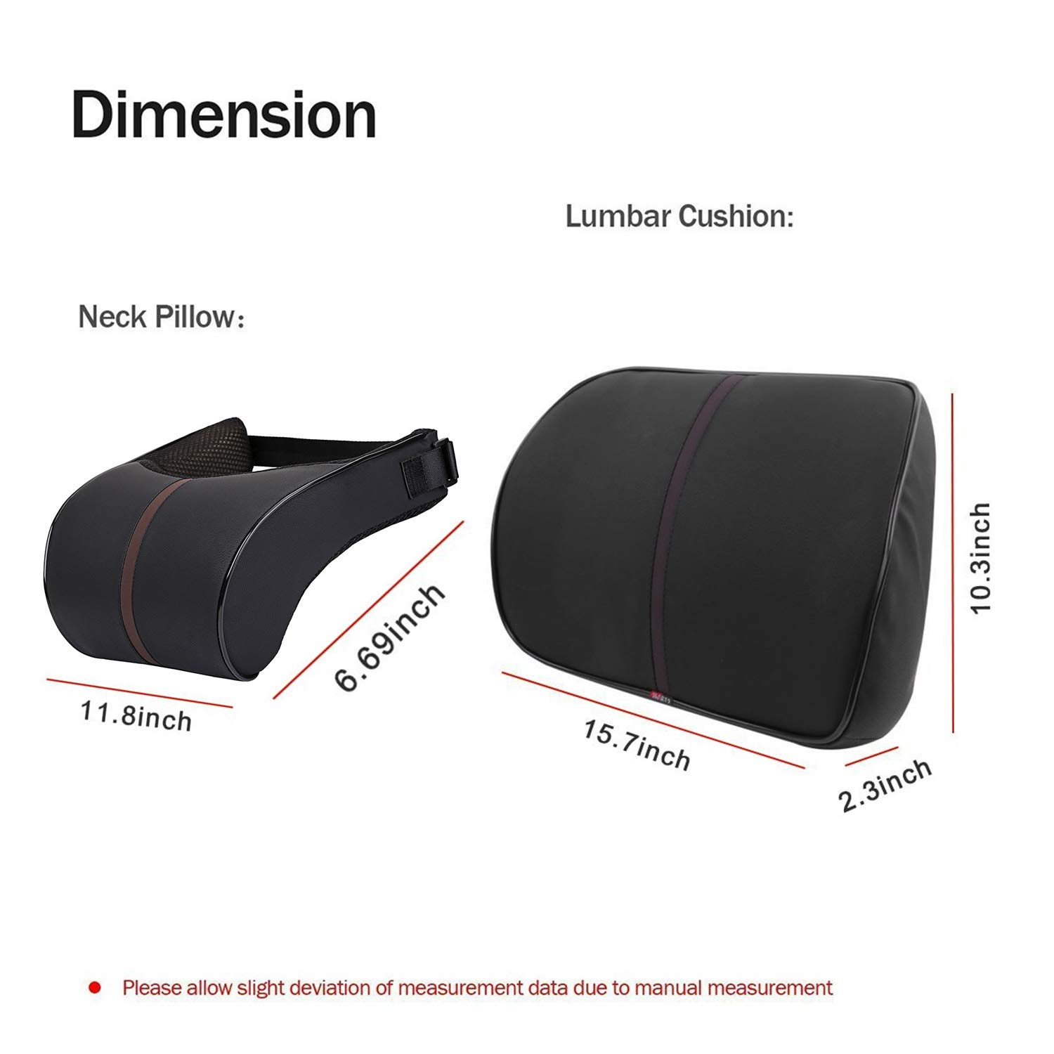 Anyshock Car Headrest Lumbar Pillow Neck Back Support 100/% Memory Foam Head Neck Seat Cushion with Ergonomically Design Soft Leather for Adjust Sitting Position Relief Neck Back Pain Muscle Tension