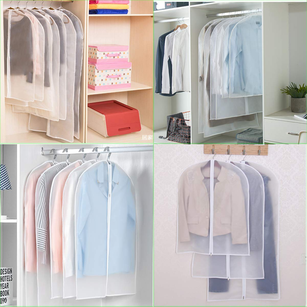 Garment Bag Clear Suit Dress Moth Proof Garment Bags Dust Cover White Breathable Bag with Full Zipper for Clothes Closet Storage Pack of 6 by homebags (Image #6)