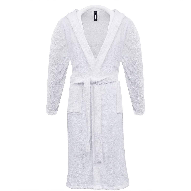 Anself Bademantel mit Kapuze für Damen & Herren aus Baumwolle Größe L Weiß gut eingezäunt