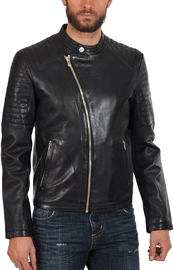 Kingdom Leather Mens Cowhide Thick Leather Jacket Black KC125