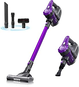 Housmile Cordless Vacuum Cleaner, 4 in 1 Handheld Vacuum, Rechargeable Stick Vacuum with LED Brush for Home and Car Cleaning, Purple