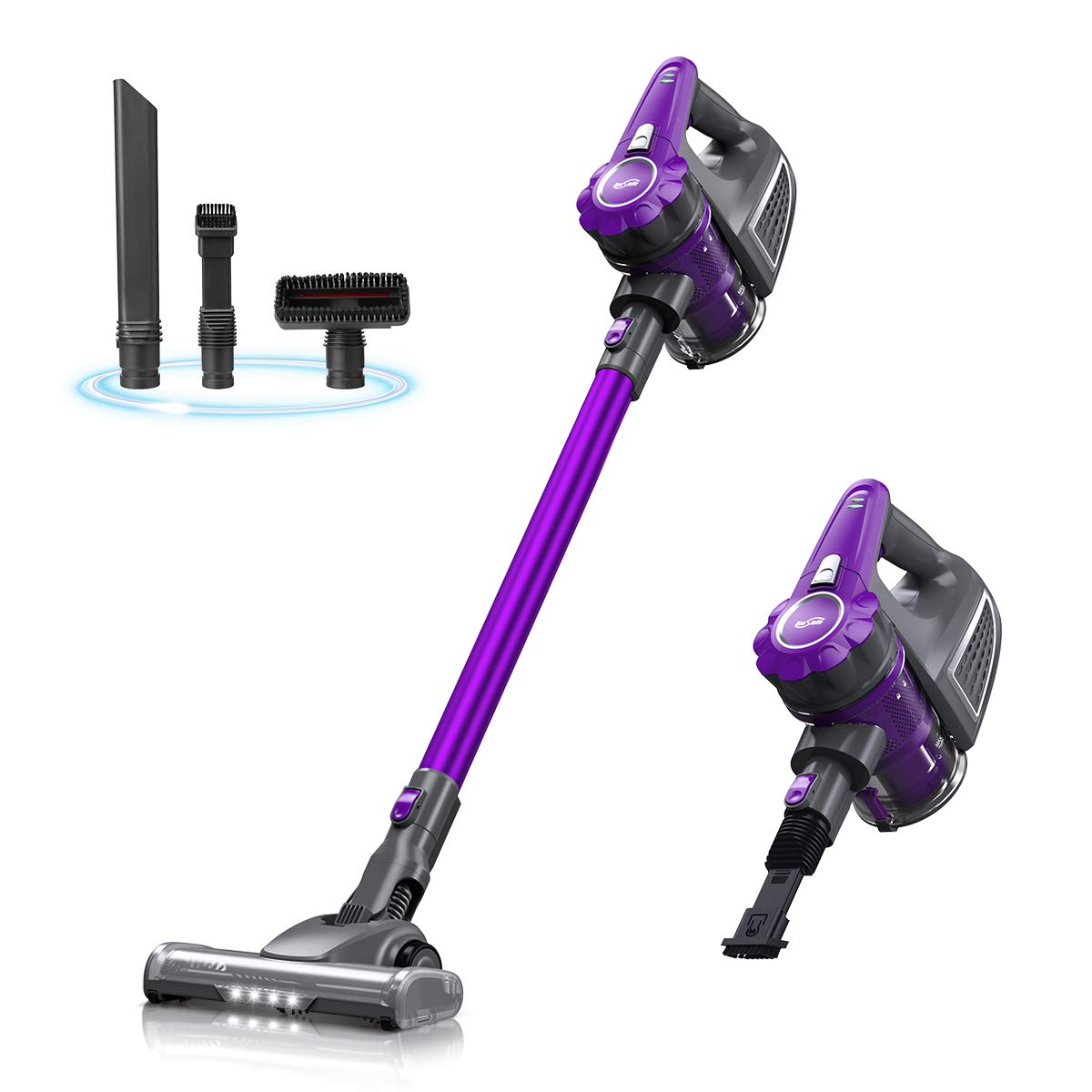 Housmile Cordless Vacuum Cleaner, 4 in 1 Handheld Vacuum, Rechargeable Stick Vacuum with LED Brush for Home and Car Cleaning, Purple by Housmile