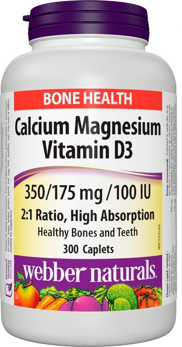 Webber Naturals Cal•Mag 2:1 Ratio with Vitamin D 350/175 mg · 100 IU, 300 Caplets by Webber Naturals