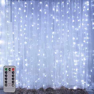 Copper Wire Curtain Lights, 300LED White Remote Control 8 Modes DIY Pattern Flexible String Lights, Window and Wall Decorations for Garden, Room, Party, Wedding : Garden & Outdoor