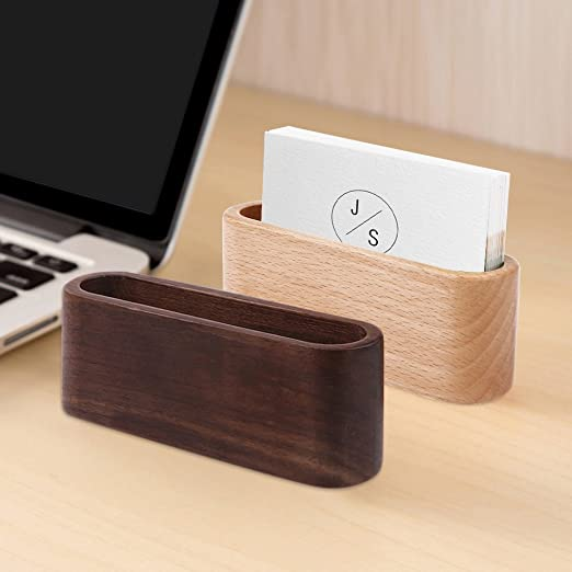 ourleeme classic wooden business card holder single compartment name