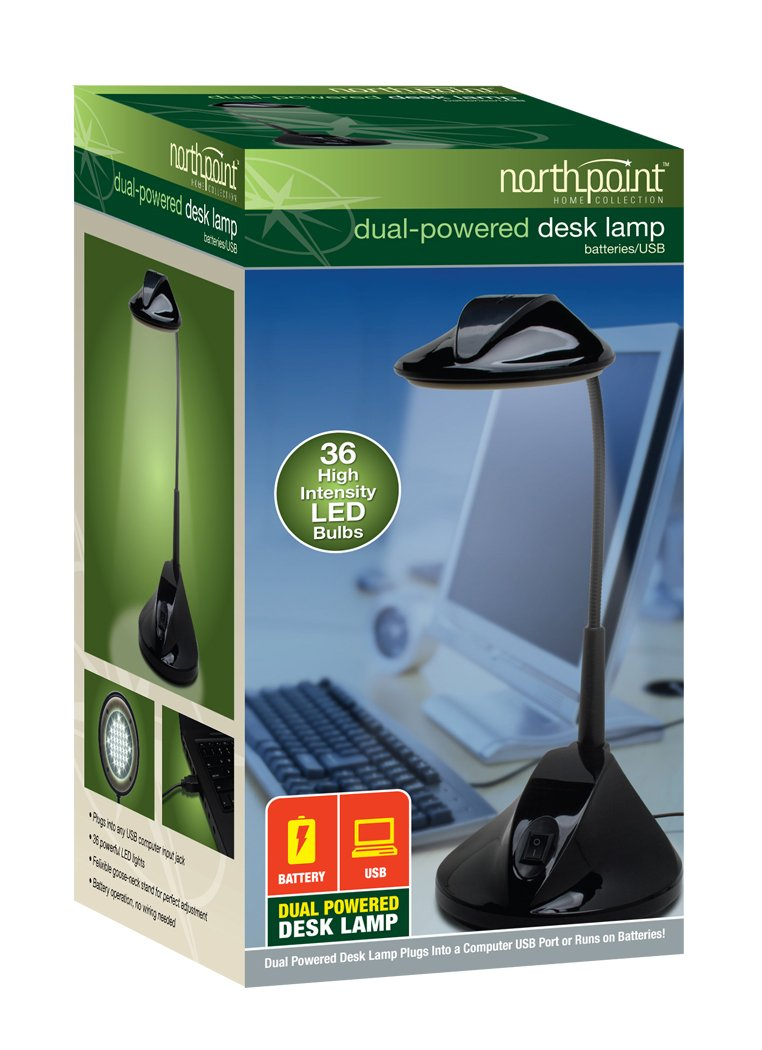 6 Piece Northpoint GM8240 36 LED Bulbs Dual Powered Desktop Lamp