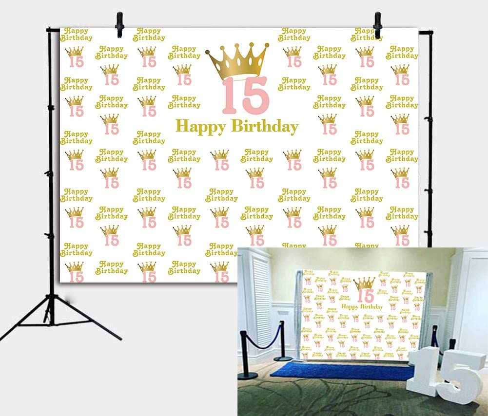 BoTong 7x5ft Sweet 15 Birthday Party Backdrop Glitter Gold Crown Princess Girl 15th Birthday Photography Background Teenage Birthday Party Banner Vinyl Decoration Cake Table Photo Studio Booth Props