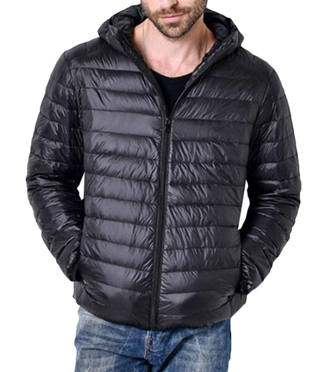 Domple Mens Packable Lightweight Hooded Quilted Casual Solid Color Warm Puffer Jacket Black XL