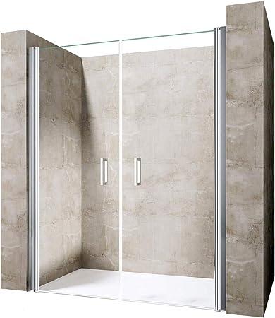 durovin baños Teramo – 22 moderno y contemporáneo ducha almacenaje transparente sin marco Pivot puerta sólo Nano Cristal, Sin plato de ducha, transparente, 1100mm x 1900mm Double Doors: Amazon.es: Hogar