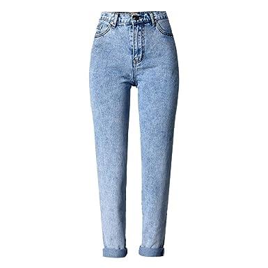 PanpanBox Mujer Vaqueros Chino Pantalones Jeans Cintura Alta ...