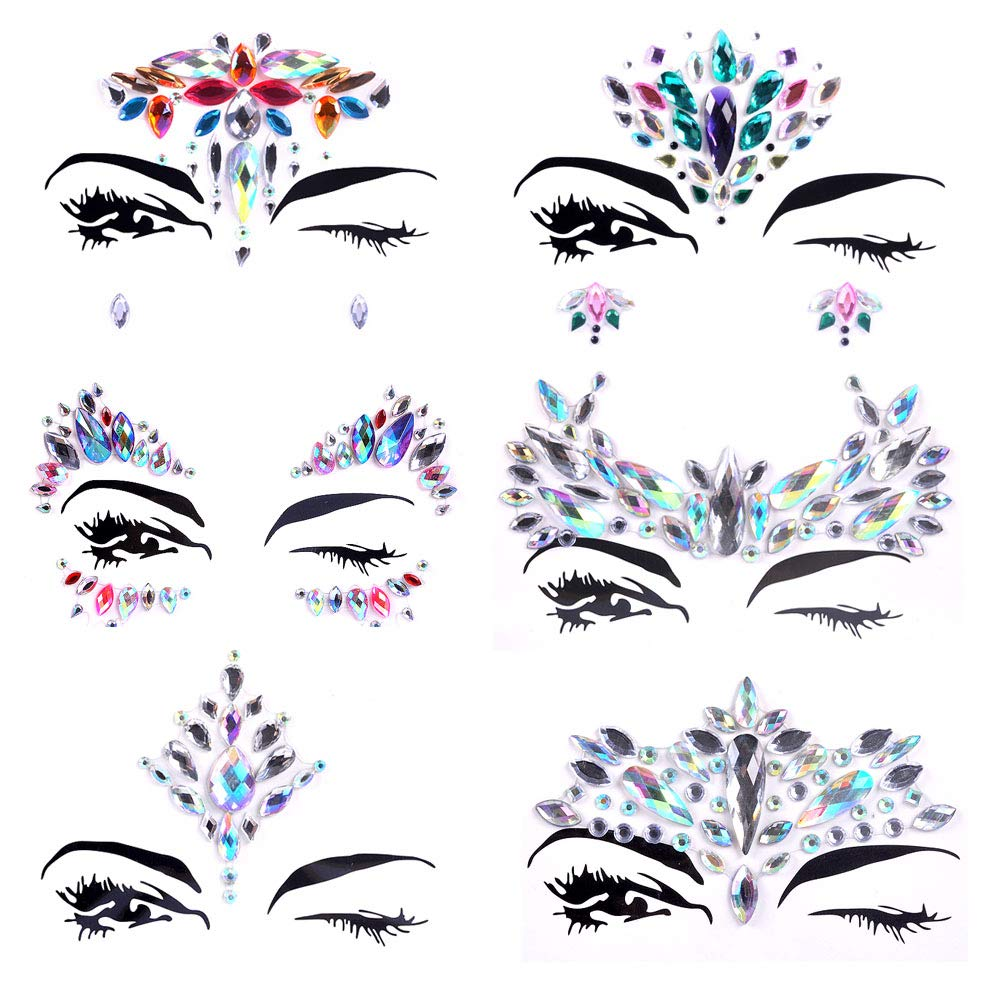 Face Jewels Festival Gems Face Rhinestones Glitter Mermaid Rave Face Stickers Tatoos Kit for Christmas Party Music Festival