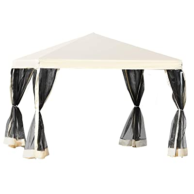Outsunny 10' x 10' Pop-up Canopy Vendor Tent with Removeable Mesh Walls, Easy Setup Design, Travel Bag Included Beige : Garden & Outdoor