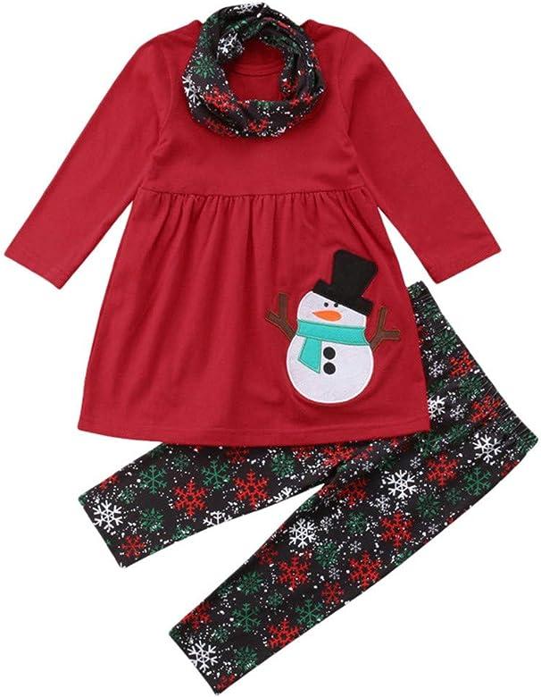 U.Expectating 2pcs Christmas Set for Kids Toddler Boy Girls Long Sleeve Snowman Print Shirt Tops Harem Pants Clothes Outfits Set 6M-4T