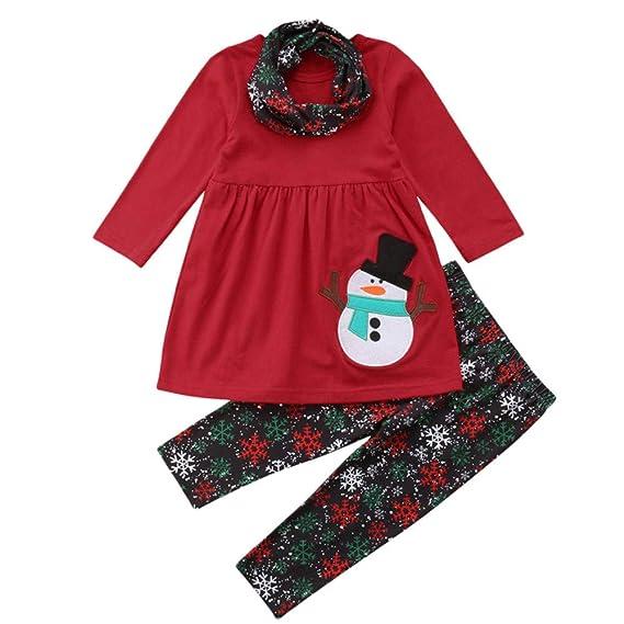 3PC/ Conjunto Ropa Navidad Niña Disfraz - 6 Meses - 4 años Tops de Muñeco de Nieve Estampado + Pantalones a Copo de Nieve + Bufanda: Amazon.es: Ropa y ...