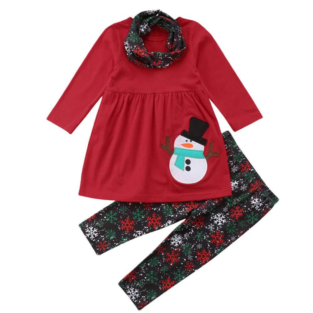 Homebaby - Bambino Ragazzo delle Neonate Natale Stampa di Pupazzo di Neve Completi Top Manica Lunga Felpa + Pantaloni + Sciarpa Impostato Costume di Natale Regalo Bambini