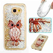 Galaxy A5 2017 Case, Ngift [Owl] 3D Creative Bling Liquid Infused Luxury Bling Glitter Sparkle Inlaid Shiny Soft TPU Gel Rubber Case Cover for Samsung Galaxy A5 2017