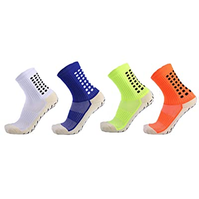2/4 Pack Mens Athletic Soccer Socks Anti Slip Sport Ankle Hospital Socks with Grips Size 6-12