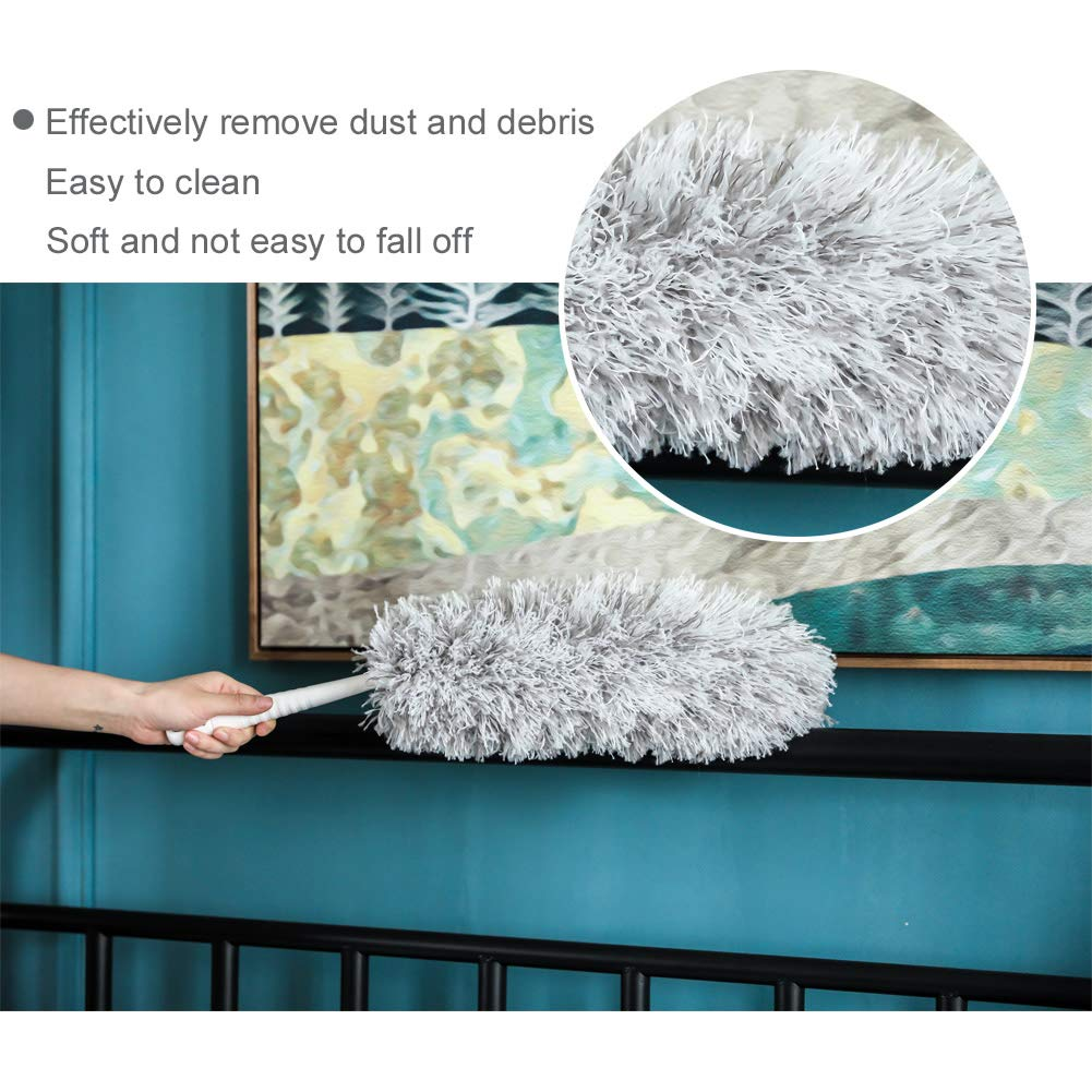 New Microfiber Duster,Extension Pole Reach 47''-68'' inches with Clothes Fork Extending Duster,Washable Bendable Head,Long Duster for Cleaning Dust, High Ceiling Fans, Cobweb,Interior Roof (68) by Furein (Image #3)