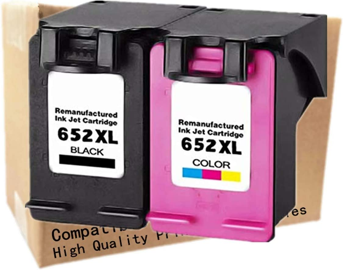 No-name Remanufactured Ink Cartridges Replacement for HP 652 XL HP652 Deskjet 1115 1118 2135 2136 2138 3635 3636 3835 4535 4536 4538 4675 4676 4678 Inkjet Printer (1 Black + 1 Tri-Color)