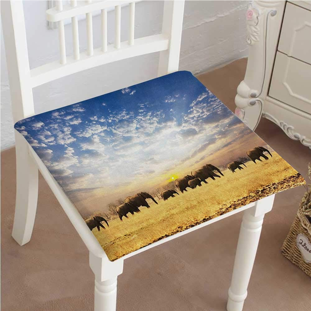 Mikihome Classic Decorative Chair pad Seat Collection Elephants African Wild Animals Golden Colored Desert at Sunrise Scenery Picture Blue Cushion with Memory Filling 22''x22''x2pcs