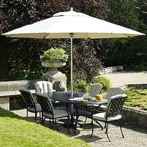 Bramblecrest Ancona Aluminium Oval 6 Seater Venice Armchair Set - Metal Garden Furniture Set - 6 Seater Dining Set - Outdoor Patio Table and Chair Set