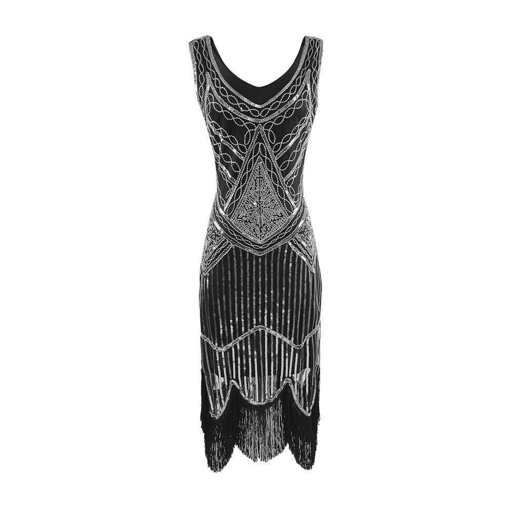 ZHENBAO Women's 1920s Flapper Dress Crystal Sequin Embellished Fringed Gatsby Dress Silver