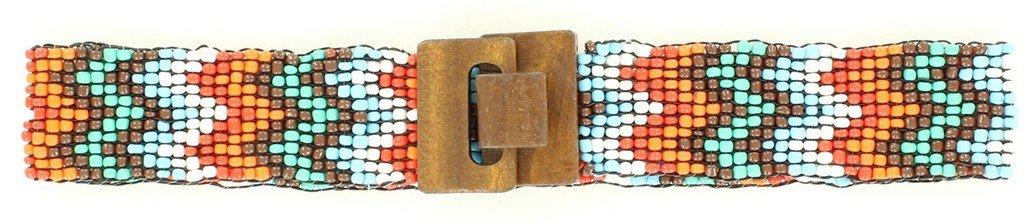 Nocona Girl's Stretch Beaded Chevron Pattern Belt, Multi Color, S/M
