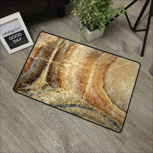Clear printed pattern door mat W24 x L35 INCH Marble,Onyx Stone Surface Pattern Banded Variety Layered Differing Lines Image,Sand Brown Cinnamon Natural dye printing to protect your baby's skin Non-sl