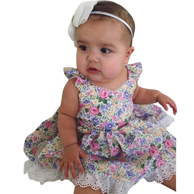 Vovotrade Ropa de Verano Niña Chicas Niños Cordón Lleno Mini Vestido Bowknot Decoración Faldas Vestidos de