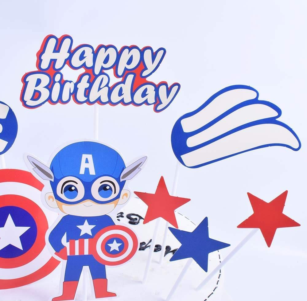 SHAMI Happy birthday cake topper Captain America Cake Topper for Avengers Superhero Theme Birthday cartoon Party Decoration Suppliers