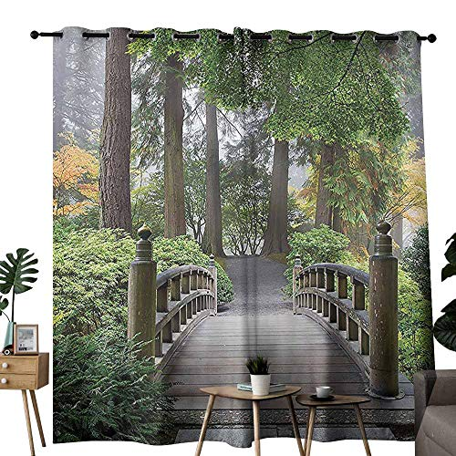 duommhome Apartment Decor Collection Polyester Curtain Foggy Morning Wooden Bridge at Japanese Garden with Various Types of Trees in Autumn Block Light Protection Privacy W72 xL72 Beige Green Curved Rail Garden Bridge