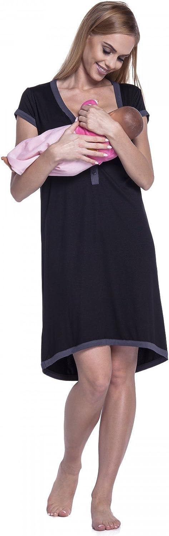 Womens Maternity Nursing Breastfeeding Nightdress Shirt Gown 981p HAPPY MAMA