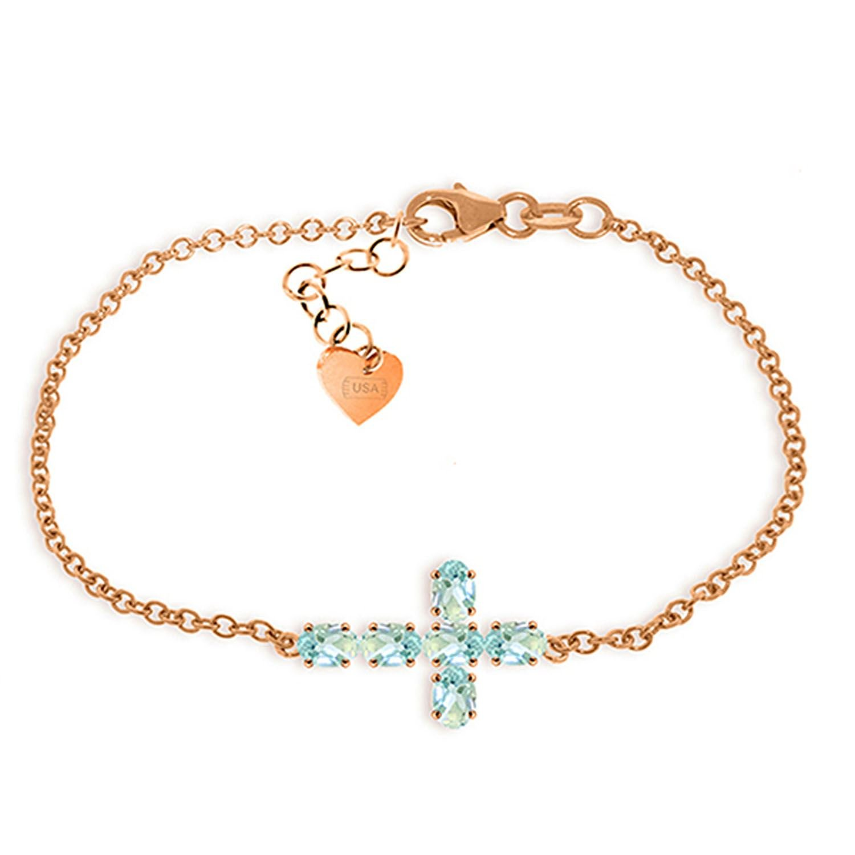 ALARRI 1.7 Carat 14K Solid Rose Gold Cross Bracelet Natural Aquamarine Size 8 Inch Length