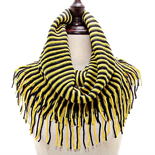 ri Tigers Inspired Black and Gold Snood Tube Knit Gameday Scarf with Fringes (Gold Snood)