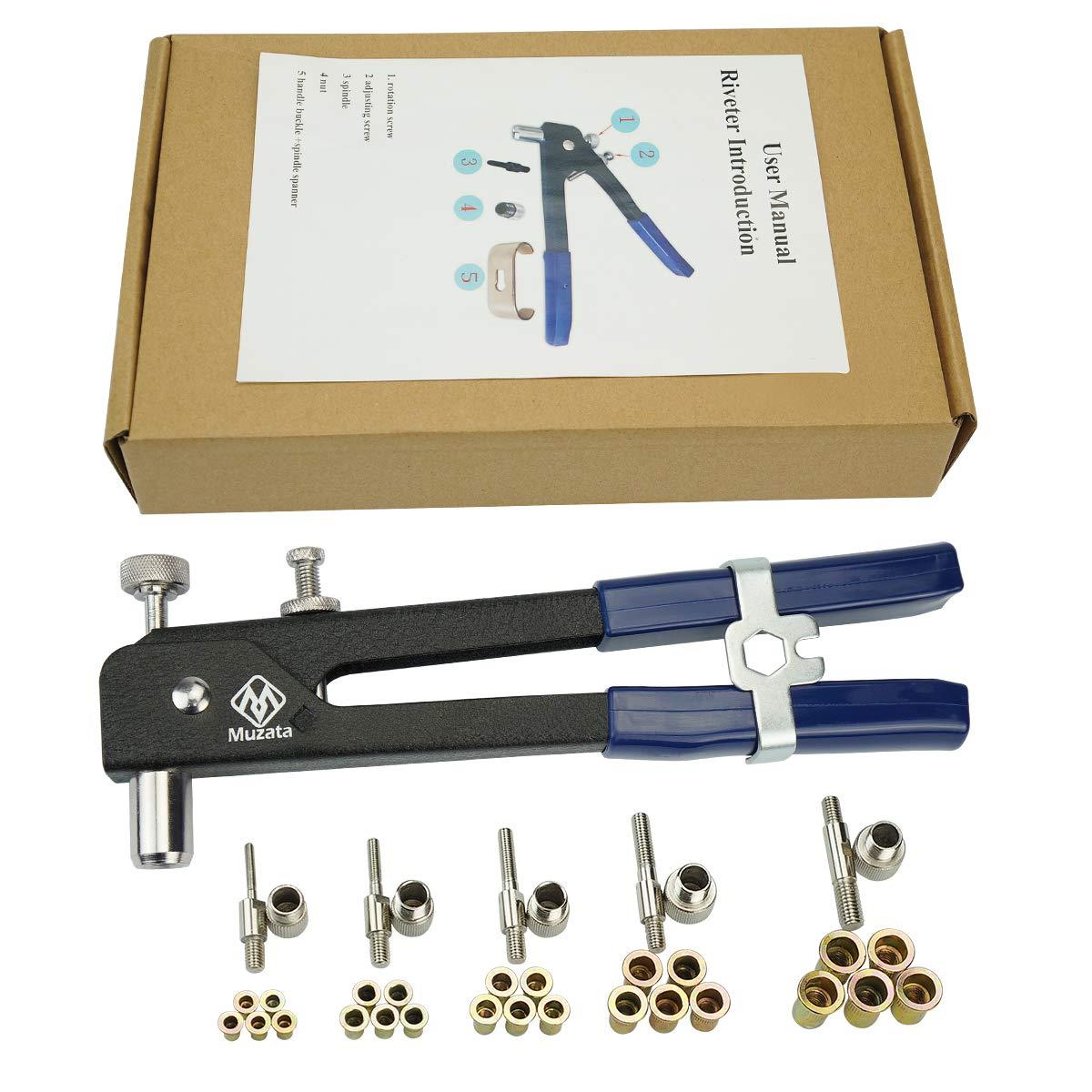 Muzata Heavy Duty Blind Rivet Nut Kit Set, Riveter Tool, Rivet Nut Gun, Rivet Gun, Riveting Tools, Thread Hand Riveter with 250PCS Rivet Nuts by Muzata (Image #1)