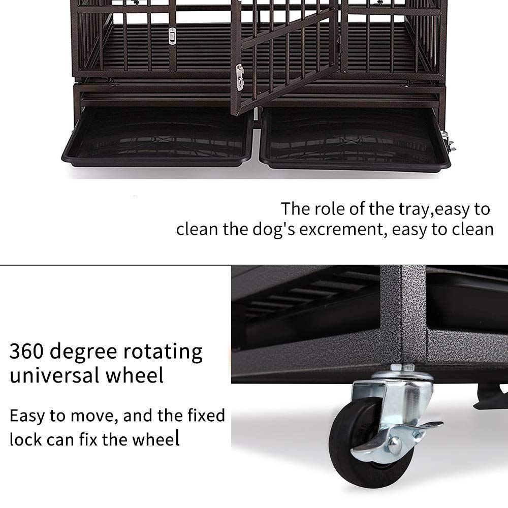 Haige Pet Your Pet Nanny Heavy Duty Dog Crate Cage Kennel Strong Metal for Large Dogs, Easy to Assemble Pet Playpen with Patent Lock & Four Wheels by Haige Pet Your Pet Nanny (Image #4)