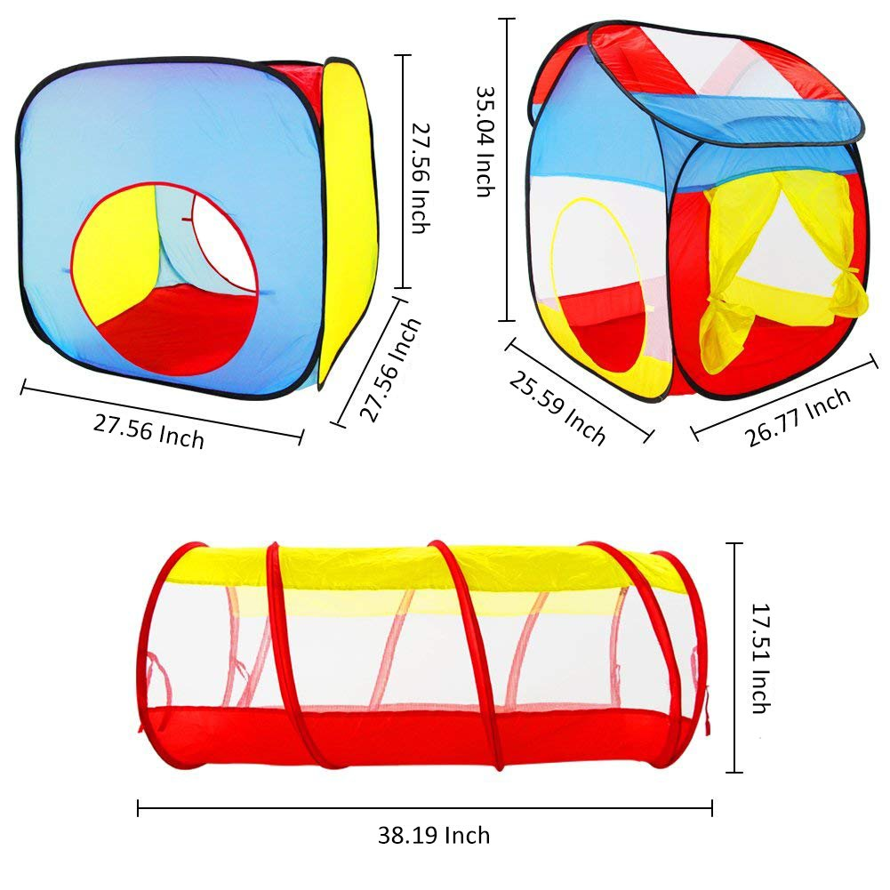 Fajiabao Pop-up Children Play Tent and Tunnel Indoor and Outdoor Playhouse with Carrying Case for Kids Girls Boys 3- Piece