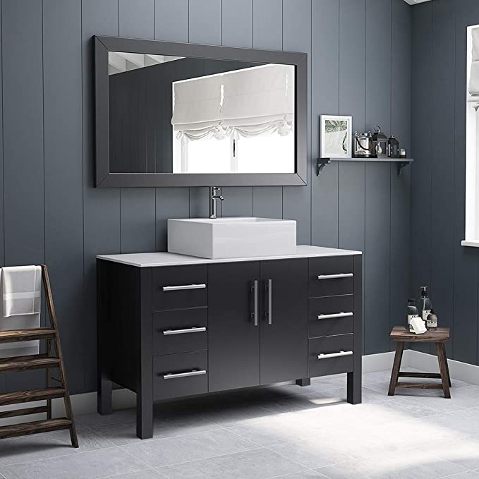 48 Inch Espresso Wood Porcelain Single Vessel Sink Bathroom Vanity Set Randolph Chrome Faucet Home Kitchen