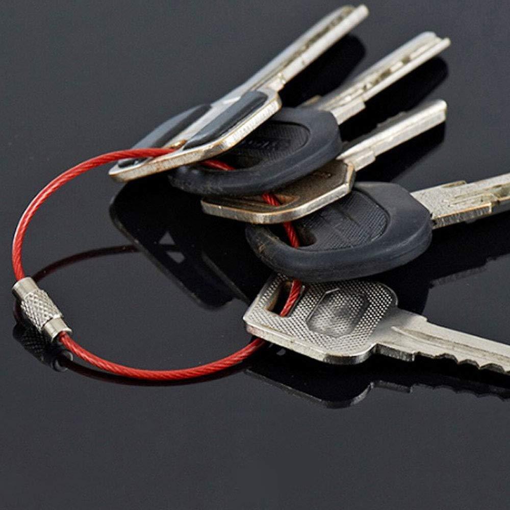 FOGAWA 21pcs 7 couleurs Porte Cl/é Fil Color/é Porte Clef en Cable Acier Inoxydable Boucle Anneau Porte Cl/és avec Une Couche de Protecteur pour /Étiquettes Clefs Bagages