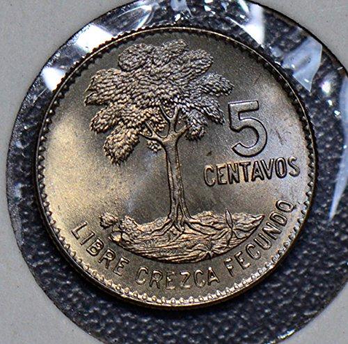 1965 GT G0041 Guatemala 5 Centavos Gem BU tree bird animal DE PO-01