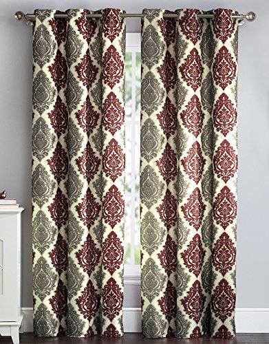 HowPlumb 2 Blackout Room Darkening Window Curtains Grommet Panel Pair Drapes Thermal Damask Red Taupe 84