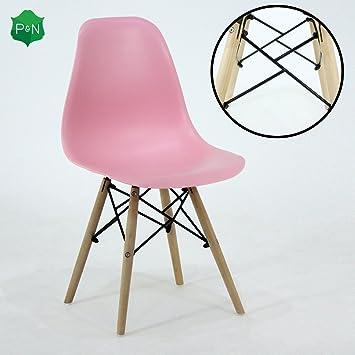P N Homewares Romano Ds Moda Stuhl Kunststoff Holz Retro Esszimmer