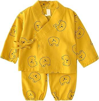 Camisa del bebé dormir Set japonesa pijamas de algodón Set kimono con los pantalones de oso de dibujos animados para los niños imprimió el sistema para bebé 80cm Niño Amarillo 1Ponga: Amazon.es: