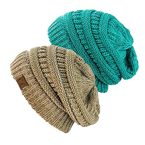 NYFASHION101 Exclusive Unisex Two Tone Warm Cable Knit Thick Slouch Beanie Cap (2 Tone Taupe & 2 Tone Mint)