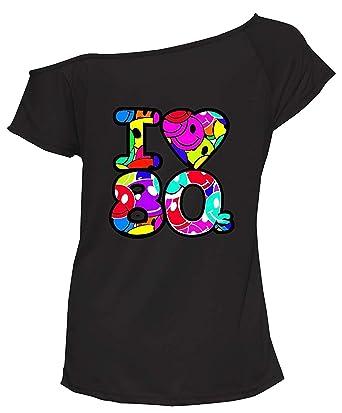 Ladies I Love The 80s T Shirt Short Sleeves Womens Retro Pop Star Top